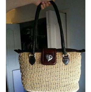 Western Straw Hand Bag Purse Leather Heart Braided